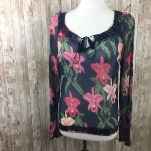 Lucky Brand Dale of Hope Blue Floral Sheer Blouse